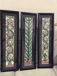 Gond paintings mounted and framed in black .look fabulous! Folk Art Flowers, Flower Art, Kalamkari Painting, Madhubani Art, Indian Folk Art, Indian Art Paintings, Madhubani Painting, Buddha Art, Art Corner