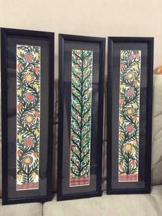 Gond paintings mounted and framed in black .look fabulous! Pottery Painting, Fabric Painting, Fabric Art, Painting Tips, Folk Art Flowers, Flower Art, Kalamkari Painting, Madhubani Art, Indian Folk Art