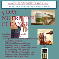 I have just finished a 5-day cleanse (with the help of Young Living oils, 'Balance Complete', 'NingXia Red' and 'Digest + Cleanse'). Results: Lost 7 lbs, Feel fantastic - brighter, more alert, skin glowing, full of energy. After the initial 2 days of headaches, lack of energy and nausea as my body released the toxins this cleanse wasn't really that difficult www.theamazingway.com/#!weight-loss/c24v3