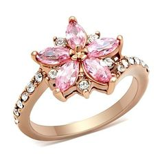 Sz 5-10 Ion RGP Rose CZ Flower Ring. Starting at $8 on Tophatter.com!