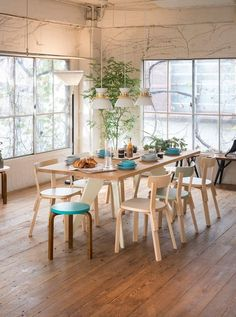 Alvar Aalto´s Chair 69, Stool 60, Floor lamp A805 together with Jørn Utzon ´s pendant lamp U336.  More product info here www.artek.fi Photo: Petri Artturi Asikainen