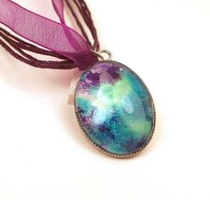 Melted Crayon Jewelry by Instinctively Indie  -Melted Crayon Necklace Peacock OOAK Upcycled Purple Green Blue