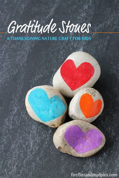 Gratitude Stones: A Thanksgiving nature craft for kids.
