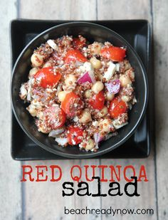 Red quinoa adds protein fiber and iron to this healthy salad. Healthy Salad Recipes, Raw Food Recipes, Lunch Recipes, Vegetarian Recipes, Dinner Recipes, Clean Eating Recipes, Healthy Eating, Healthy Food, Red Quinoa Salad