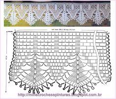 Risultati immagini per miria croches e pinturas Motif Bikini Crochet, Crochet Lace Edging, Crochet Borders, Crochet Diagram, Crochet Stitches Patterns, Doily Patterns, Crochet Chart, Crochet Trim, Crochet Doilies
