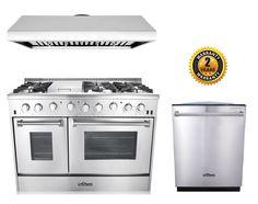 """Thor Kitchen 48"""" Gas Range 3-Piece Kitchen Package in Stainless Steel"""