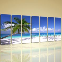 Huge HD Canvas Print Framed Beach Landscape Wall Art Palm Tree Sunny Sky 7 Panels Wall Art Inner Framed Ready To Hang 76x36  It is with great pleasure to offer you this giclee print from our high revolution image.  St. Louis-based Bo Yi Gallery—which specializes in Contemporary Wall Art & Home Décor—offers hundreds of beautiful framed canvas prints on ETSY, with a 100% five-star satisfaction rating!  High quality 7-panel Giclee high-resolution canvas wall print with Beach in Photography s...