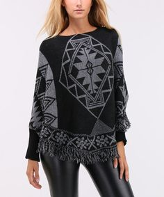 Black & White Geometric Wool-Blend Poncho #zulily #zulilyfinds