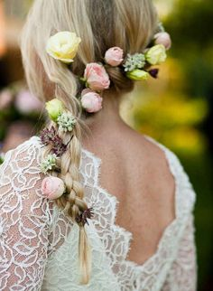 In your hair | 38 Prettiest Ways To Use Flowers In Your Wedding