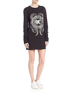 Opening Ceremony Graphic Cotton T-Shirt Dress - Black - Size