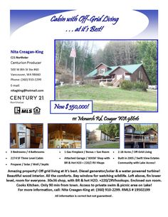 Motivated Seller! Real Estate for Sale: Now $350,000-3 BD/4 BA, 2274 SF Amazing Three Level Cabin + Bonus Room and a Sun Porch on 2.18 Acres with a Second Garage in an Off-Grid Living Community at: 111 Monarch Rd, Cougar, Skamania County, WA! Listing Broker: Nita Creagan-King (360) 910-2299, Century 21 Northstar, Vancouver, WA! #realestate #PriceImproved #cabin #offgridliving #garage #shop #sunporch