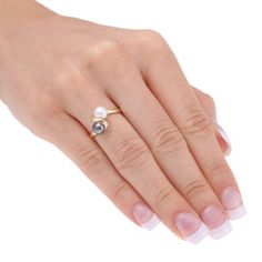 Black and white freshwater pearls ring 10k yellow gold CAD 152.52