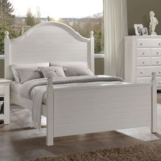 The Jasmine White Twin Poster Bed has a fun design with a classy look. Covered in a white painted finish on durable Asian hardwoods. Accented by horizontal wood panels and thick posts, this twin size bed frame features a tall, shaped headboard with strong curves. Jasmine White Twin Poster Bed | Weekends Only Furniture and Mattress