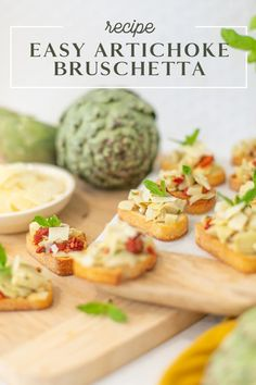 Try this simple artichoke bruschetta recipe for a delicious and quick appetizer. Perfect for antipasto and entertaining at home. It's a great summer party recipe idea, and a no-fail delicious side dish. Bruschetta Toppings, Bruschetta Recipe, Easy Meal Prep, Easy Meals, Family Meals, Kids Meals, Artichoke, Quick Appetizers, Antipasto