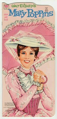 """""""Walt Disney's Mary Poppins"""" paper doll book, Whitman Publishing offered a Mary Poppins paper doll based on the title character played by Julie Andrews in the 1964 Disney movie. Disney Pixar, Disney Films, Disney Love, Disney Magic, Jim Henson, Walt Disney Mary Poppins, Disney Posters, Vintage Paper Dolls, Cinema"""