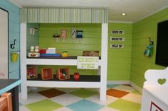 Coolest playroom!  So colorful.  I'm thinking of using this as inspiration for when we redesign the boys' room.
