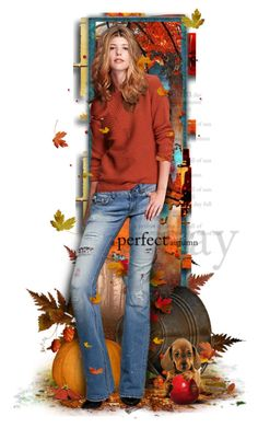 """ A Perfect Autumn Day "" by lastchance ❤ liked on Polyvore featuring art, autumn, dolls, dog and lastchance"