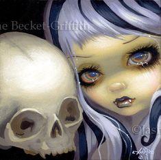 Faces of Faery 153 goth vampire skull big eye fairy by strangeling, $13.99
