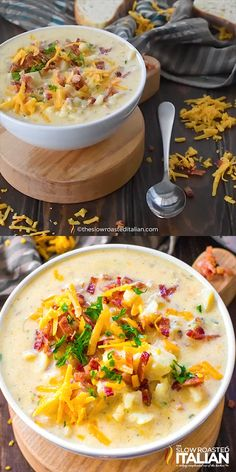 Slow Cooker Potato Soup is easy to make, creamy, thick and packing all the delicious flavors of a fully loaded baked potato! Slow Cooker Potato Soup is easy to make, creamy, thick and packing all the delicious flavors of a fully loaded baked potato! Crock Pot Recipes, Easy Soup Recipes, Slow Cooker Recipes, Dinner Recipes, Cooking Recipes, Chili Recipes, Potato Recipes, Recipe For Baked Potato Soup, Dinner Ideas