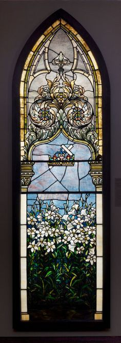 Lilies (Corey Memorial Window) leaded Favrile glass, 1892/95.  The Art Institute of Chicago.  Tiffany used lilies in his windows a number of times.  The Corey's may have been inspired to commission this design by the Field of Lilies Window in Tiffany's Chapel at the Chicago 1893 World's Columbian Exposition.