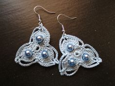 pearls and crochet earrings