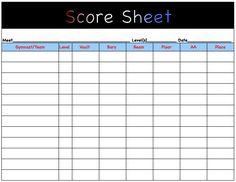 gymnastics score sheet printable - Google Search