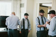 Groomsmen in monochrome with suspenders #wedding Images by @GALAXIE ANDREWS