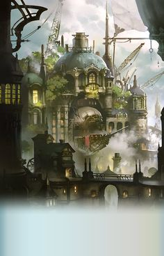 residential islands for high society including merchants and naval captains Fantasy City, Fantasy Places, Sci Fi Fantasy, Fantasy World, Fantasy Art Landscapes, Fantasy Landscape, Fantasy Artwork, Environment Concept Art, Environment Design