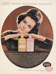 1963 Richard Hudnut Shampoo Ad Mod Beauty Woman Photo Vintage Hair Products Advertisement Salon / Bathroom Wall Art Decor