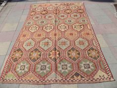VINTAGE Turkish Embroidered Large Kilim by LittleCatRug on Etsy