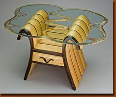 Camille Table - Base by Kerry Vesper - Wenge and Baltic Birch Glass top by Alisha Volotzky
