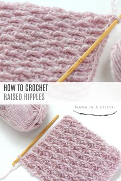 How To Crochet the Raised Ripple Stitch This beautiful crochet stitch is perfect for blanket, scarfs and more. There's a free pattern and video tutorial to show you how to crochet it. via Mama In A Stitch Knit and Crochet Patterns – Jessica Beau Crochet, Bonnet Crochet, Crochet Diy, Crochet Gratis, Crochet Books, Tunisian Crochet, How To Crochet, Crochet Ideas, Crocheted Scarf