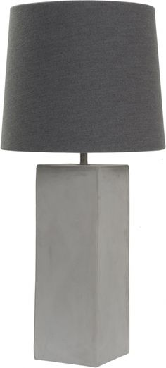 Concrete Cube Table Lamp With Grey Felt Shade