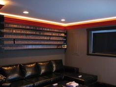 Video game room ceiling lightning in purple or blue....