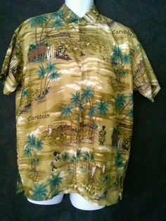 Rina M Men's Hawaiian Shirt - Gold, Tan and Green - 100% Terivoile - Cool Print