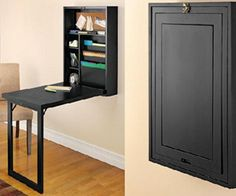 Short on space, but need a dedicated office area in your home? This fold-out convertible desk that closes into a 6-inch-deep wall cabinet is just what you need. The Murphy bed of desks will hold office supplies and folders while providing a perfect spot to work (or play) on your laptop.