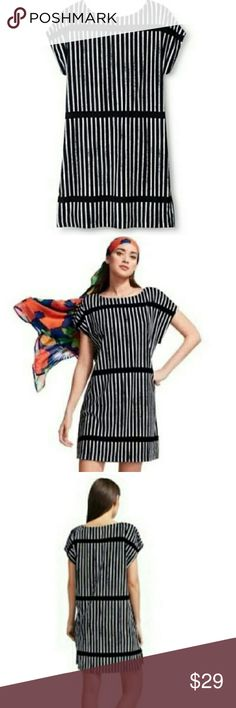 Marimekko for Target Black and White Dress Black & White Ministeri (1986 pattern) Boatneck neckline, cap sleeves, pullover style. Terry (80% cotton,  20% polyester) dress. Can be a casual day dress, beach cover up, or dressed up with heels and jewels and a belt! Marimekko Dresses
