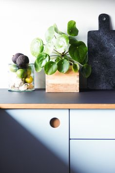 Reform Basis 01 kitchen in two light blue colors, handles in natural oak and a table top in Charcoal linoleum on IKEA elements. Kitchen Worktop, Kitchen Tops, Kitchen Countertops, New Kitchen, Linolium, Light Blue Kitchens, Interior Styling, Interior Decorating, Joinery Details