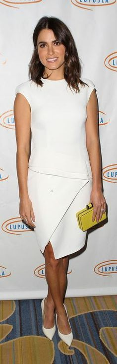 Who made Nikki Reed's white pumps and dress that she wore in Beverly Hills on November 15, 2013?