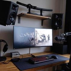 50 Cool Trending Gaming Setup Ideas Gaming Setup Ideas - If you are interested in putting together a killer gaming set-up,… Setup Desk, Computer Desk Setup, Gaming Room Setup, Pc Setup, Home Studio Setup, Home Office Setup, Home Office Design, Configuration Home Studio, Siege Gaming