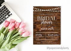 Rustic Bridal Shower Invitation!  This is a digital file, please leave a note in the message box before purchasing with the following info to be included on the invite:  1. Include all shower information: Address, date, phone number etc. Once payment is confirmed, a proof will be sent via email and must be approved by buyer before final product is sent. Please allow 1-3 business days for proof, when proof is approved a PDF file will be sent to via email within 1 business day. No physical…