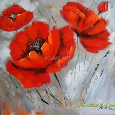 Abstract Flower Acrylic On Canvas | 100% hand-painted acrylic on canvas Flower painting