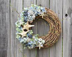 This item is unavailable Silk Flower Wreaths, Hydrangea Wreath, Silk Flowers, Floral Wreath, Spring Door Wreaths, Summer Wreath, Wreaths For Front Door, Beach Wreaths, Seashell Wreath