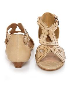 Beige Loopy Cutout Wedge Sandals
