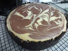 Marble Cheesecake - a decadent dessert especially when topped with a chocolate ganache. Divine!