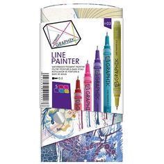 Find Derwent® Graphik Line Painter Marker 5 Color Set at Michaels. These paint markers feature a Japanese nib and are filled with an acrylic/watercolor-like opaque paint that becomes permanent when dry. Paint Pens, Paint Markers, Large Scale Art, Palette, Drawing For Beginners, Buy Fabric, Maker, Pen Art, Inspirational Gifts