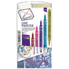 Derwent Graphik Line Painter - etui - assortiment van gekalibreerde viltstiften - 0,5mm - Schleiper