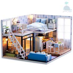 DIY Handcraft Miniature Project Wooden Dolls House My Studio Apartment In Blue #CUTEROOM #Modern Modern Dollhouse Furniture, Miniature Dollhouse Furniture, Dollhouse Miniatures, Tumblr Zimmer, Wooden Dollhouse Kits, Ikea Dollhouse, Kitchen Units, Diy Kitchen, Room Kitchen