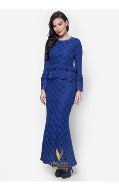 Baju Kurung Moden Peplum Lace - Vercato Sarafina in Blue