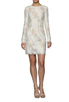 Long Sleeve Lace Short Cocktail Dress by Monique Lhuillier | Brides.com